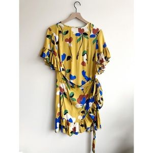Karlie Mustard Yellow Floral Wrap Ruffle Dress